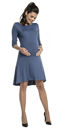 Happy Mama Damen Umstands Midi Kleid Schwangerschaft Rundhalsausschnitt. 657p Blau Jeans