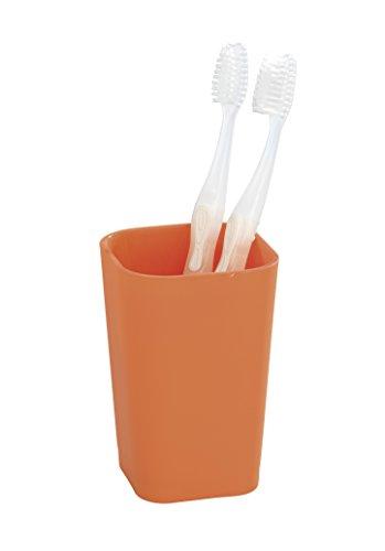 WENKO 18964100 Zahnputzbecher Rainbow Orange - Soft Touch, Kunststoff - Polystyrol, 7.3 x 11 x 7.3 cm, Orange