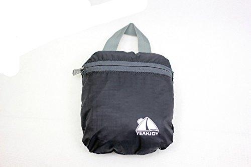 yeahjoy 20L leichter Travel Gear Faltbare Rucksack Wandern Daypack Radfahren Schule Air Reisen Carry On Rucksackreisen für Damen und Herren Schwarz