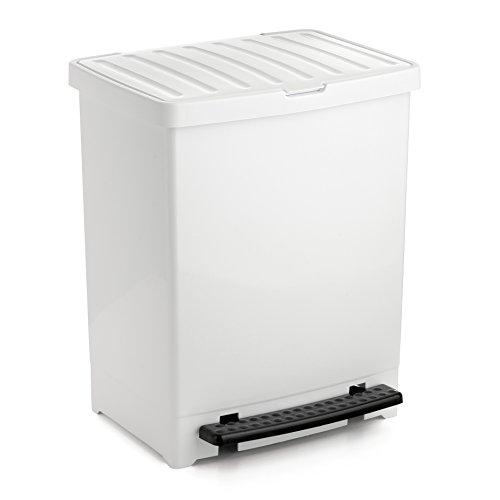 Tatay Cubo de Basura Cocina con Apertura a Pedal 25 l de Capacidad plástico Polipropileno, Blanco...