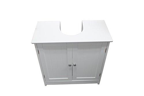 Mobiletto da bagno sottolavabo in legno bianco