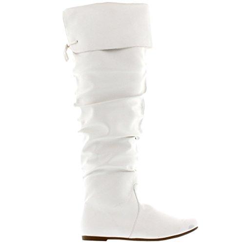 Damen Reiten Oberschenkel hohe Winter Schuhe Mode Hoch Pirat Stiefel Weiß