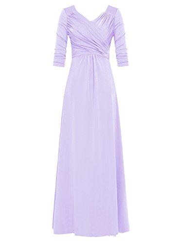 Dresstells, Robe de cérémonie Robe de mère de mariée longueur ras du sol col en V manches 3/4 Lavande