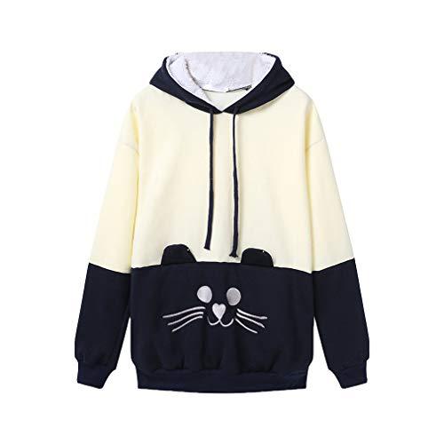 juqilu Frauen Hoodies Jumper Long Sleeve Bestickte Katze Kapuzen Lässige Pullover Sweatshirt Jacke Mantel Pullover Tops Aprikose 2XL -