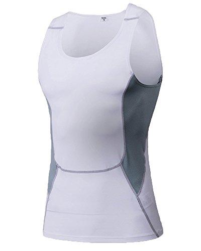 Compression Unterhemd T-Shirt Ärmellos Für Herren Basketball Fitness Laufen Tank Top Weiß XL (ärmelloses Basketball-unterhemd)