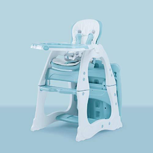 MLDOTronas para bebé Kinderhochstuhl - Weiches Leder, faltbar, voll einstellbar, mit Sicherheitsgurt und herausnehmbarem Tablett, neigbarer Rückenlehne und faltbar (Color : Blue) -