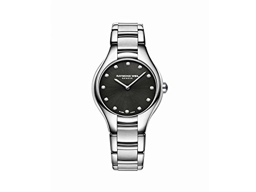 Montre à Quartz Raymond Weil Noemia Ladies, Noir, 12 Diamants, 5132-ST-20081