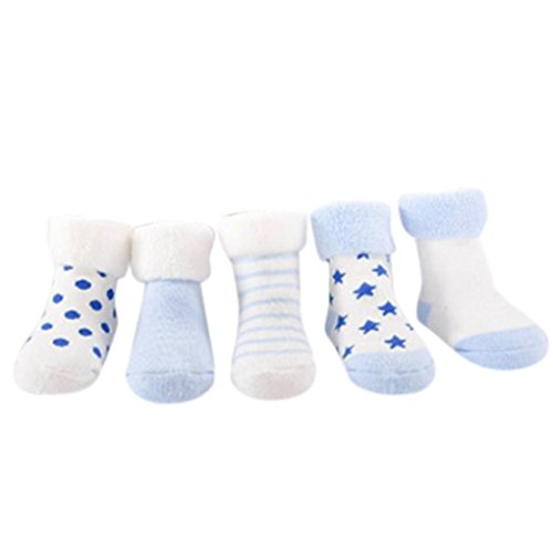 Foto de Amlaiworld 4 Pares Calcetines de bebé recién nacidos niñas niños Zapatos de bebé zapatillas de dibujos animados Calcetines antideslizantes para bebés (Azul, Tamaño:0-6Mes)