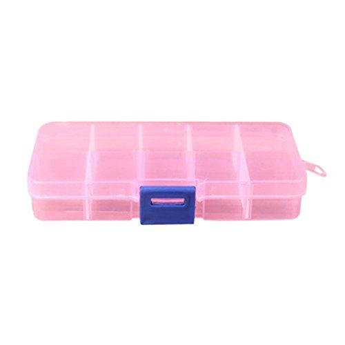 TWBB Gitter Einstellbar Schmuck Perlen Pillen Nagel Kunst Aufbewahrungskiste (13 x 6.5 x 2 cm, Rosa)