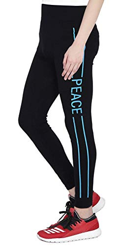 ICABLE Women's Polyester Yoga Pant Gym/Tights Black (LT102, Printed Text and Colour...
