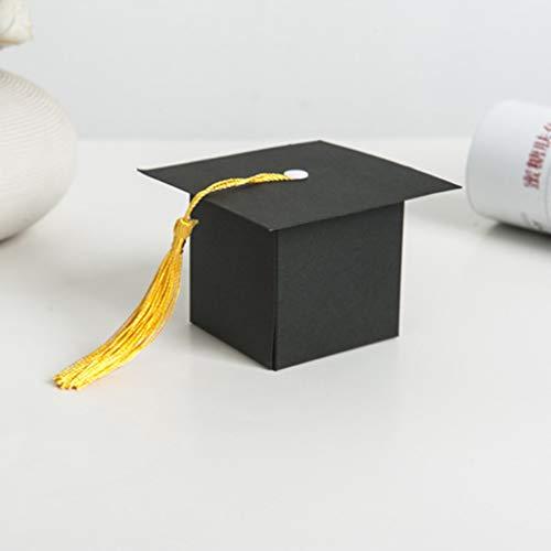 Grad Cap Card Box,Party Zubehör,10 Stück Graduation Dekorationen Graduation Geschenkbox Pralinenschachtel für Abschlussfeier gefallen, 2019 Graduation Party Herzstück Sticks -Table Toppers (Black)