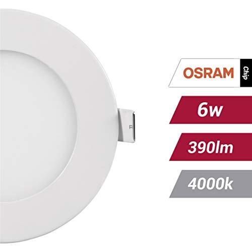 POPP- (Pack x 2 )downlight led Placa LED redondo.6W neutro,chip OSRAM,(4000K, 6W)[Clase...