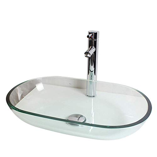ZGYQGOO Bad Glaswaschbecken Vanity Vessel Sink Bowl Tap + Wasserhahn Kit, Waschbecken Eitelkeit gehärtetem Glas Bad Vanity Sink Square Bowl -