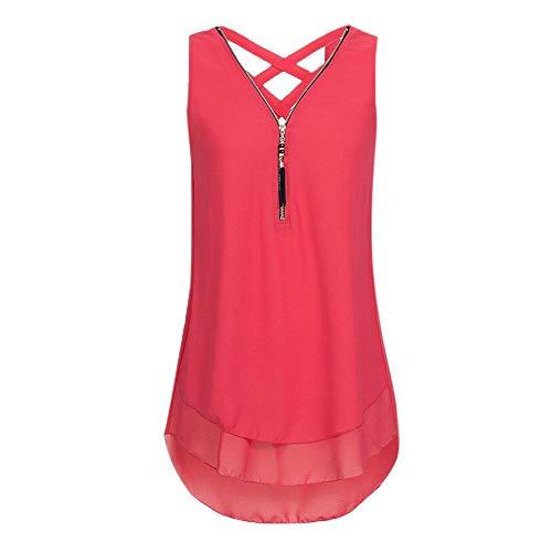 EUTUOPU Tank Tops, Women T Shirt V Neck Ladies Big Size Loose Sleeveless Cross Back Chiffon Gym Holiday Vest Top(Red) -