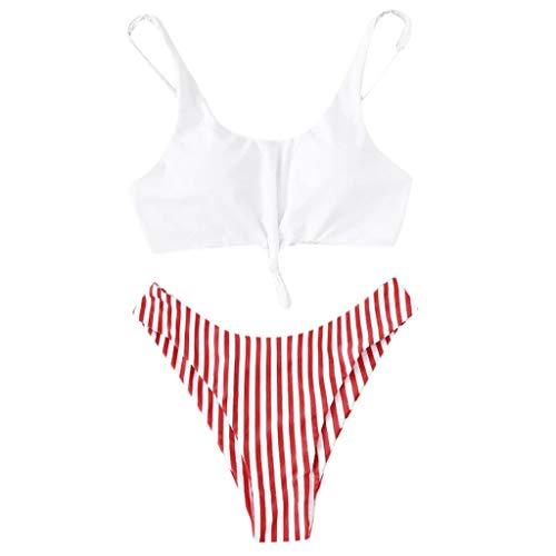 QingJiu Ladies Summer Stripe Print Kleiner Frischer ()