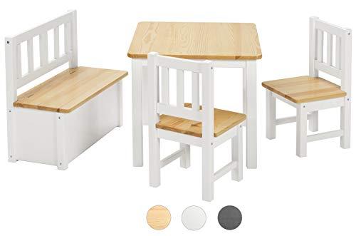 Bomi Kindersitzgruppe Anna mit integrierter Spielzeugkiste | Kindertruhenbank aus Kiefer Massiv Holz für Kleinkinder, Mädchen und Jungen