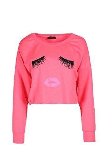 Oops Outlet Damen Freizeit Ausschnitt Locker Schlabber Wimpern Lippen Bedruckt Top Kleid Fluoreszierend Rosa