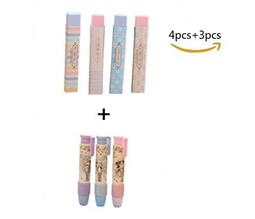 Dosige Radierer in Stiftform, Radiergummi Radierer aus Kunststoff, für Bleistifte und Buntstifte (4 Stück+3 Stück)