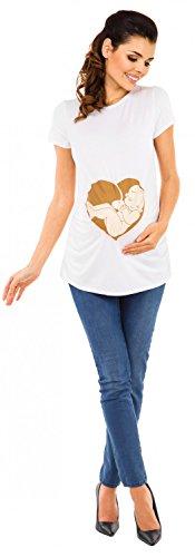 Zeta Ville Maternité - Top shirt de grossesse motif humour imprimé - femme 508c Blanc