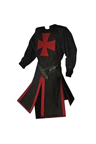 Smileshop Ritterkostüm Waffenrock Tempelritter rotes Tatzenkreuz Mittelalter Kostüm- Herren Tempelritter edel L (Schwarzer Ritter Kostüm)