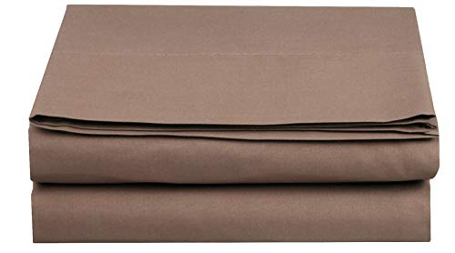 Elegant Comfort  TM Premium Hotel 1-Piece, Luxury and Softest 1500 Thread Count Egyptian Quality Bedding Flat Sheet, Wrinkle-Free, Stain-Resistant 100% Hypoallergenic, Full, Taupe - Full Flat Sheet
