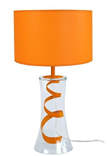 tosel-63936-pequeno-trompeta-lampara-vidrio-soplado-metal-pintura-epoxi-algodon-naranja-250-x-300-mm