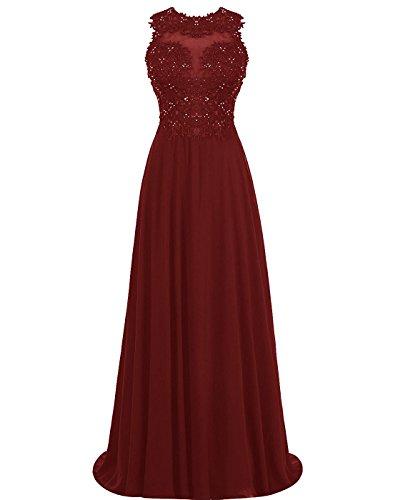 Carnivalprom Damen Abendkleider Lang Elegant Perlstickerei Ballkleider Applikationen Partykleider Burgund