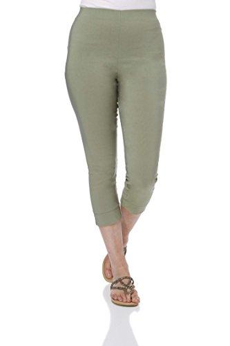 Roman Originals Damen Bengalin-Knöchelhose aus Stretch-Material - Damen mittellange Capri-Pull-on-Hosen - Sommer, Urlaub, tagsüber, Knöchelhose- 40 Farben,Khaki,42 (14) -