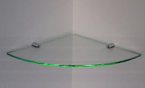 MEDIUM GLASS EFFECT ACRYLIC CORNER SHELF WITH CHROME FIXING BRACKETS 240mm