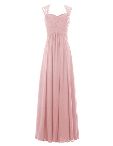 Ever Love A-Linie Chiffon Brautjungfernkleider Ballkleid Abendkleider Damen lang hochzeitskleid Cocktail Party blush38 (Abendkleid Chiffon A-linie)