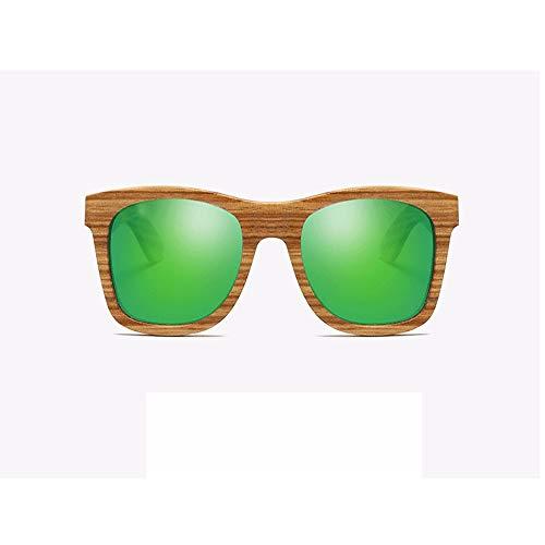 WULE-Sunglasses Unisex UV 400 Schutz Harz Linse HD visuelle Starke Auswirkungen polarisierte hellgrüne Unisex handgefertigte Zebrano Holzrahmen Sonnenbrille (Farbe : Green)