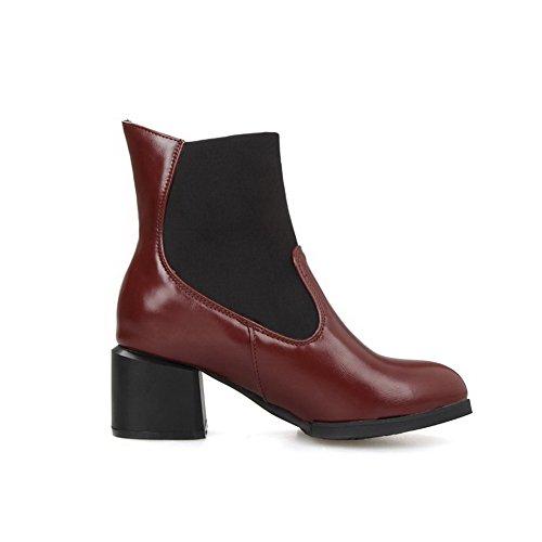 AllhqFashion Damen Mittler Absatz Niedrig-Spitze Gemischte Farbe Stiefel Rot