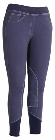 TuffRider Newbury Damen Reithose zum Anziehen, Kontrastnaht, Marineblau/Weiß, 32 Marineblau/Weiß