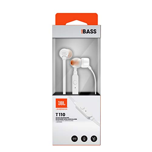 JBL T110 in-Ear Headphones with Mic (White) Image 8