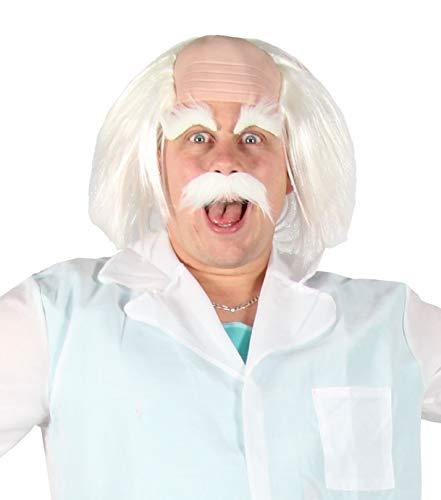 Foxxeo weiße Perücke strubbelig mit Halbglatze Augenbrauen und Bart verrückter Professor Einstein Alter Opa Greis Karneval ()