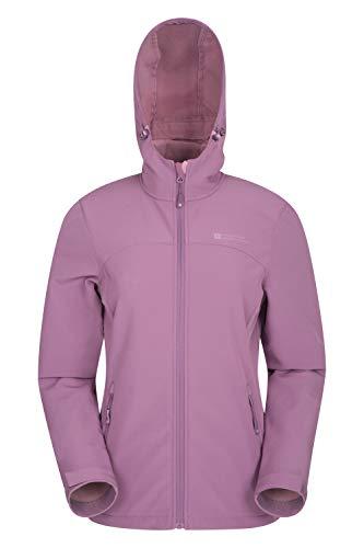 Mountain Warehouse Exodus Wasserabweisende Softshell-Damenjacke - atmungsaktive Regenjacke, länger im Rücken - großartig zum Spazierengehen, Reisen, Wandern, Frühling Lila DE 48 (EU 50)