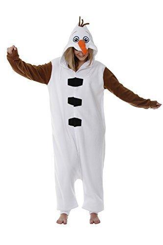 rt Olaf Schneemann Einteiler Kostüm Schlafanzüge Herren Damen - Weiß, XLarge 180-190 cm (Erwachsenes Schneemann Kostüme)