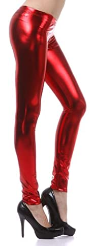 Liquid111 Sakkas Footless Liquid Wet Look Shiny Metallic Stretch Leggings - Red / X - Large