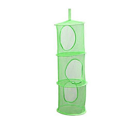 zhaogggg 3 Ablagen Netz Kinder Spielzeug Organizer Tasche Home Mesh Hängen Aufbewahrung Schlafzimmer Wand Tür Schrank grün (Kinder-spielzeug-organizer-ablagen)