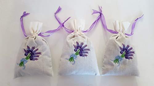 TC 3 STK. Bio Lavendelsäckchen Bestickt Bio Qualität Lavendel Lavendelblüten als Duftsäckchen -