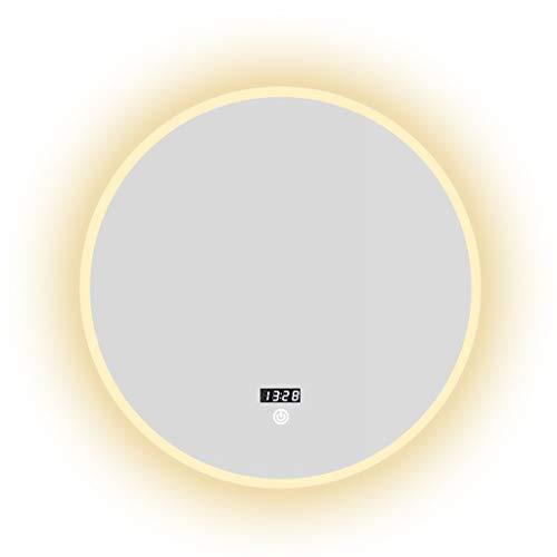 Miroirs Intelligent Salle De Bains avec Lumière Écran Tactile Salle De Bains Coiffeuse Maquillage Tenture Rond (Color : Silver, Size : 80 * 80 * 3cm)