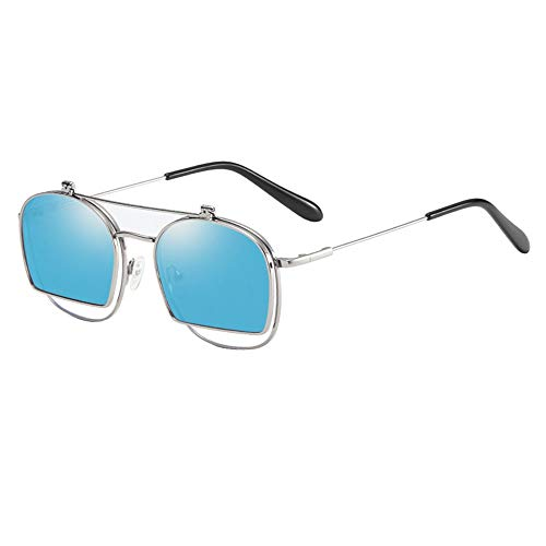 XIELH Sonnenbrille Anti Blue Light Lesebrille Männer Retro Metall Flip Up Polarisierte Sonnenbrille Frauen Runde Shades, Blau