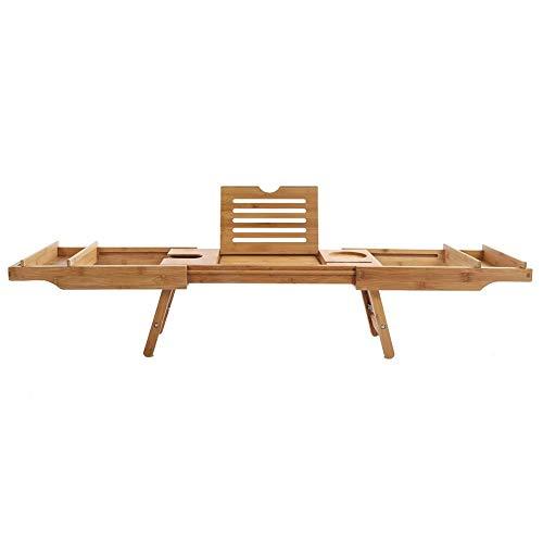 lyrlody Badewanne Caddy, 2 in 1 Erweiterung Badewannenbretter Bambus Badewanne Tablett Badetisch mit ausziehbaren Beinen, zur Benutzung auf Wanne, Sofa und Bett,110.8 x 22.5 x 21cm -
