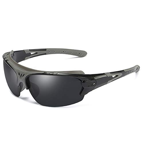 Retro Vintage Sonnenbrille, für Frauen und Männer Stilvolle Sport-Sonnenbrille polarisiert Fahren Radfahren Laufen Angeln Golf UV400 Schutz (Farbe : Schwarz)