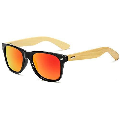 BlueAurora Bamboo Frame Sonnenbrille mit schwarzem Rahmen und rot/grün/lila polarisierten Gläsern für Männer oder Frauen,Red