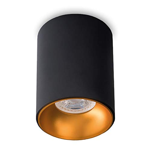 Aufbauleuchte Aufbaustrahler Aufputz ASTRAL (Rund,Schwarz/Gold) GU10 Fassung 230V Deckenleuchte Strahler Deckenlampe Würfelleuchte CUBE Kronleuchter aus Aluminium Spot - ohne Leuchtmittel