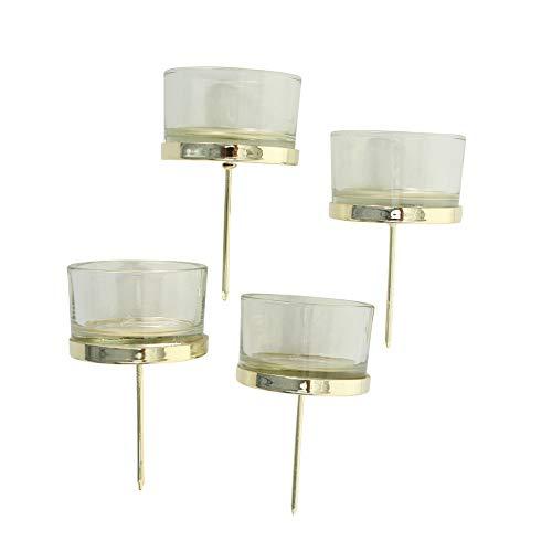 4 STÜCK Windlicht mit Stecker KLAR Glas Metall Windlichtstecker Kerzenstecker Adventskranz Stecker Teelichthalter Kerzenhalter Teelichthalter für Kränze zum Stecken