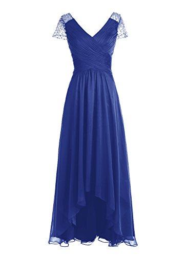 Bbonlinedress Robe de cérémonie Robe de demoiselle d'honneur asymétrique col en V longueur ras du sol Bleu Saphir