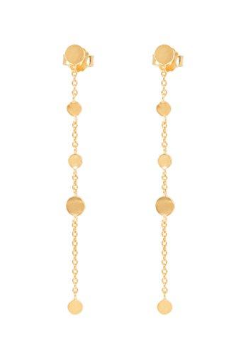 Pernille Corydon Damen Ohrringe Ohrstecker Gold Goldene Ohrkette Münzen Ohrfaden Mini Coin 925er Sterling Silber vergoldet - E009g