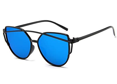 DXXHMJY Sonnenbrillen Sonnenbrille Frauen Twin-Beam Beschichtung Spiegel Sonnenbrille Weibliche Retro-Kunststoff Sonnenbrille Personalisierte High-End-Sonnenbrille Blau